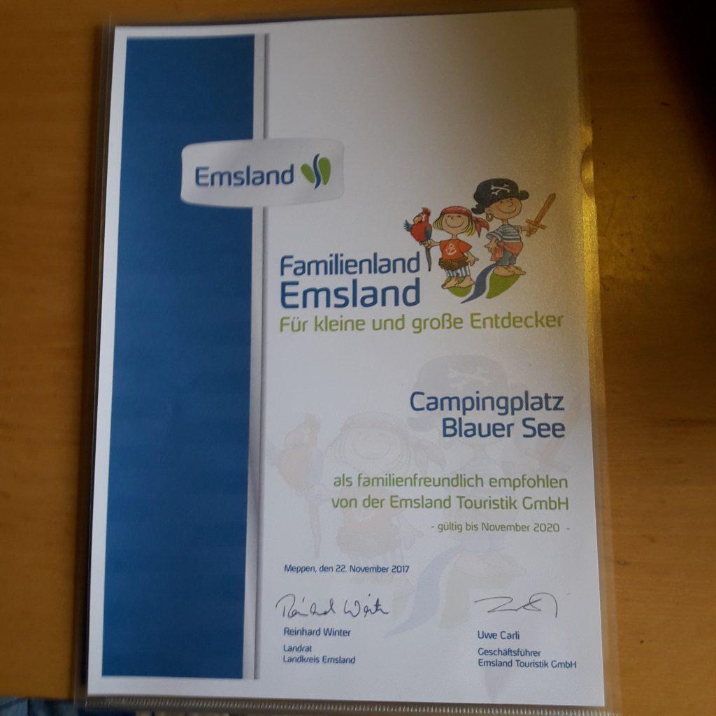 Zertifizierungen, Auszeichnungen & Mitgliedschaften: Familienland Emsland 2020